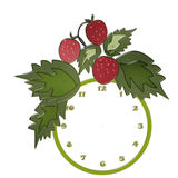 Funny cartoon clock for kids with strawberry blank Stock Photos