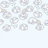 Funny cartoon clouds background with space for your text design. Royalty Free Stock Photos