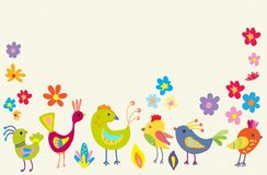 Funny Cartoon Color Birds Royalty Free Stock Photos