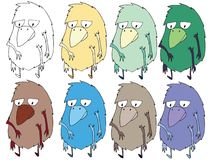 Funny cartoon colored write hand made draw doodle monster aliens birds. Funny cartoon colored write hand made draw doodle monsters aliens birds vector illustration