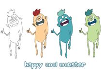 Funny cartoon colored write hand made draw doodle monster aliens cool royalty free illustration