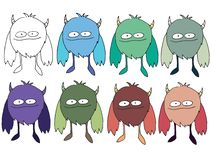 Funny cartoon colored write hand made draw doodle monster aliens owl. Funny cartoon colored write hand made draw doodle monsters aliens owl vector illustration