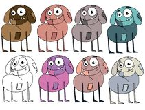 Funny cartoon colored write hand made draw doodle monster aliens zombie dog stock illustration