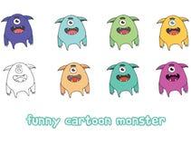 Funny cartoon colored write hand made draw doodle monster blob. Funny cartoon colored write hand made draw doodle monsters blob vector illustration