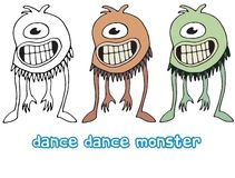 Funny cartoon colored write hand made draw doodle monster aliens dance cyclops royalty free illustration