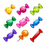 Funny cartoon colorful candies set Royalty Free Stock Images