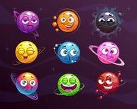 Funny cartoon colorful emoji planets set. Vector comic fantasy space characters. vector illustration