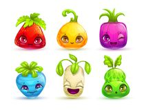 Funny cartoon colorful fantasy plant characters set. Stock Photo
