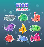 Funny cartoon colorful fish stickers set. Royalty Free Stock Images