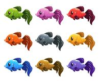 Funny cartoon colorful fishes set. Stock Photos