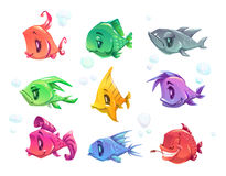 Funny cartoon colorful fishes set. Vector comic sea animals isolated on white Stock Photo