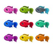 Funny cartoon colorful fishes set. Vector icons Stock Photos