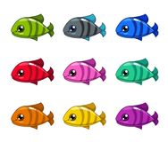 Funny cartoon colorful fishes set. Vector icons Vector Illustration