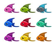 Funny cartoon colorful fishes set. Vector icons Royalty Free Stock Image