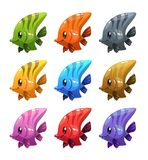 Funny cartoon colorful fishes set. Vector icons Stock Illustration