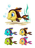 Funny cartoon colorful fishes set. Vector icons Stock Photo