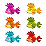 Funny cartoon colorful fishes set. Vector icons Royalty Free Stock Photo