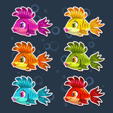Funny cartoon colorful fishes set. Vector icons Stock Image