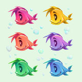 Funny cartoon colorful fishes set. Vector icons Royalty Free Stock Images