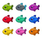 Funny cartoon colorful fishes set. Royalty Free Stock Photo