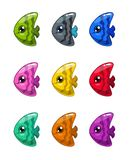 Funny cartoon colorful fishes set. Vector icons Royalty Free Stock Photography