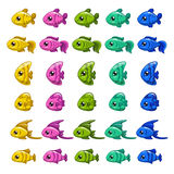Funny cartoon colorful fishes set. Vector icons for game design Royalty Free Stock Photo