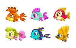 Funny cartoon colorful fishes set. Vector icons, isolated on white Royalty Free Stock Image