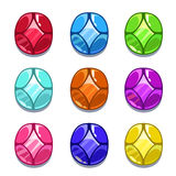 Funny cartoon colorful gems set Stock Photos