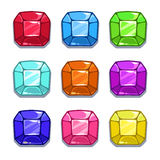 Funny cartoon colorful gems set Stock Images
