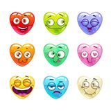 Funny cartoon colorful glossy heart characters Royalty Free Stock Image