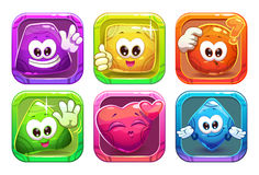 Funny cartoon colorful glossy shape characters Royalty Free Stock Photo
