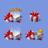 Funny cartoon colorful isometric gift boxes set with bonus. Stock Photo