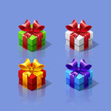 Funny cartoon colorful isometric gift boxes set. Royalty Free Stock Photos