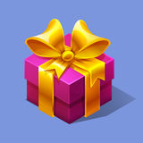 Funny cartoon colorful isometric pink gift boxe. Vector illustration Stock Images