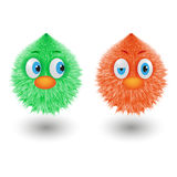 Funny cartoon colorful shaggy balls with eyes fluffy round fur characters vector illustration. Funny cartoon colorful shaggy balls with eyes. Cute fluffy round Royalty Free Stock Images