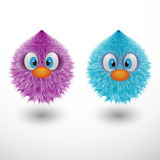 Funny cartoon colorful shaggy balls with eyes fluffy round fur characters vector illustration. Funny cartoon colorful shaggy balls with eyes. Cute fluffy round Stock Image