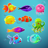 Funny cartoon colorful tropic fishes set Stock Photography