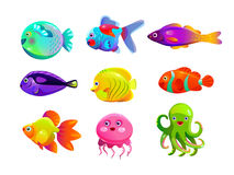Funny cartoon colorful tropic fishes Stock Photography