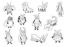 Funny cartoon colorless insect characters Royalty Free Stock Photography