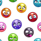 Funny cartoon comic round faces pattern Royalty Free Stock Image
