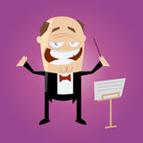 Funny cartoon conductor Stock Image