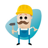Funny cartoon construction worker with hammer. Illustration of a funny cartoon construction worker with hammer Stock Image