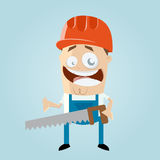 Funny cartoon construction worker Royalty Free Stock Images