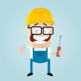 Funny cartoon construction worker. Illustration of a funny cartoon construction worker Royalty Free Stock Photo