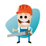 Funny cartoon construction worker with saw. Illustration of a funny cartoon construction worker with a saw Royalty Free Stock Photos