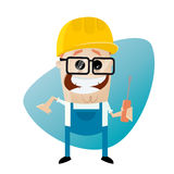 Funny cartoon construction worker with screwdriver. Illustration of a funny cartoon construction worker with screwdriver Stock Images
