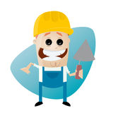 Funny cartoon construction worker with trowel Stock Photography