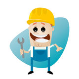 Funny cartoon construction worker with wrench. Illustration of a funny cartoon construction worker with wrench Royalty Free Stock Image