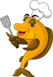 Funny cartoon cook fish royalty free illustration