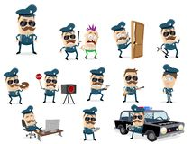 Funny cartoon cop collection. With various scenes stock illustration